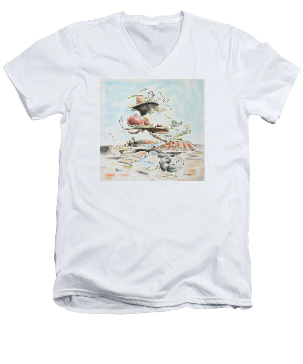 Abstract Men's V-Neck T-Shirt featuring the painting Fast Food by Dave Martsolf