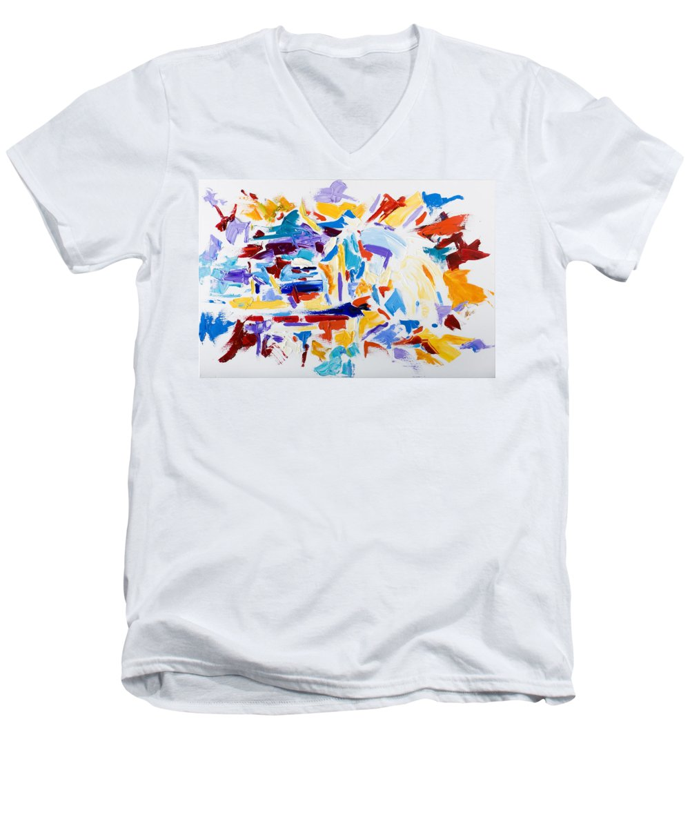 Abstract Yellow Men's V-Neck T-Shirt featuring the painting Fiesta by Shannon Grissom