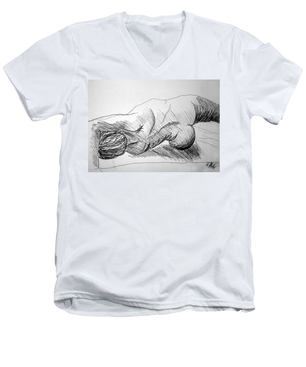 Figure Men's V-Neck T-Shirt featuring the drawing Figure Drawing 2 by Nancy Mueller