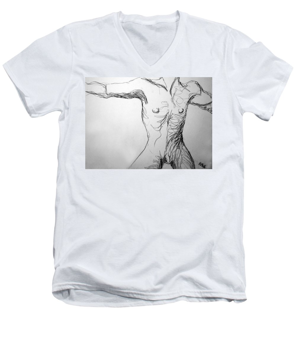 Figure Men's V-Neck T-Shirt featuring the drawing Figure Drawing 5 by Nancy Mueller