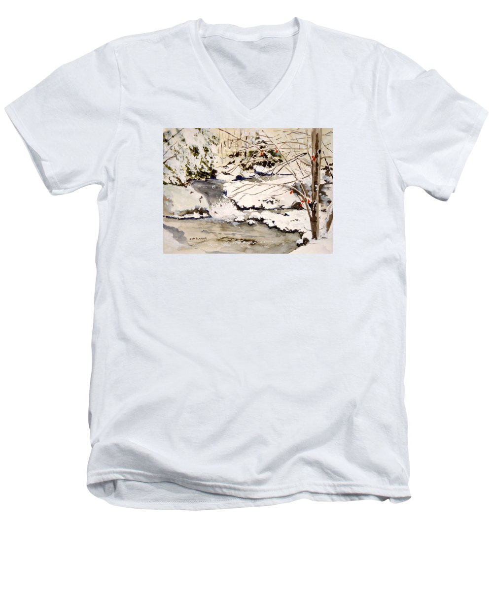 Winter Scene Men's V-Neck T-Shirt featuring the painting First Snowfall by Jean Blackmer