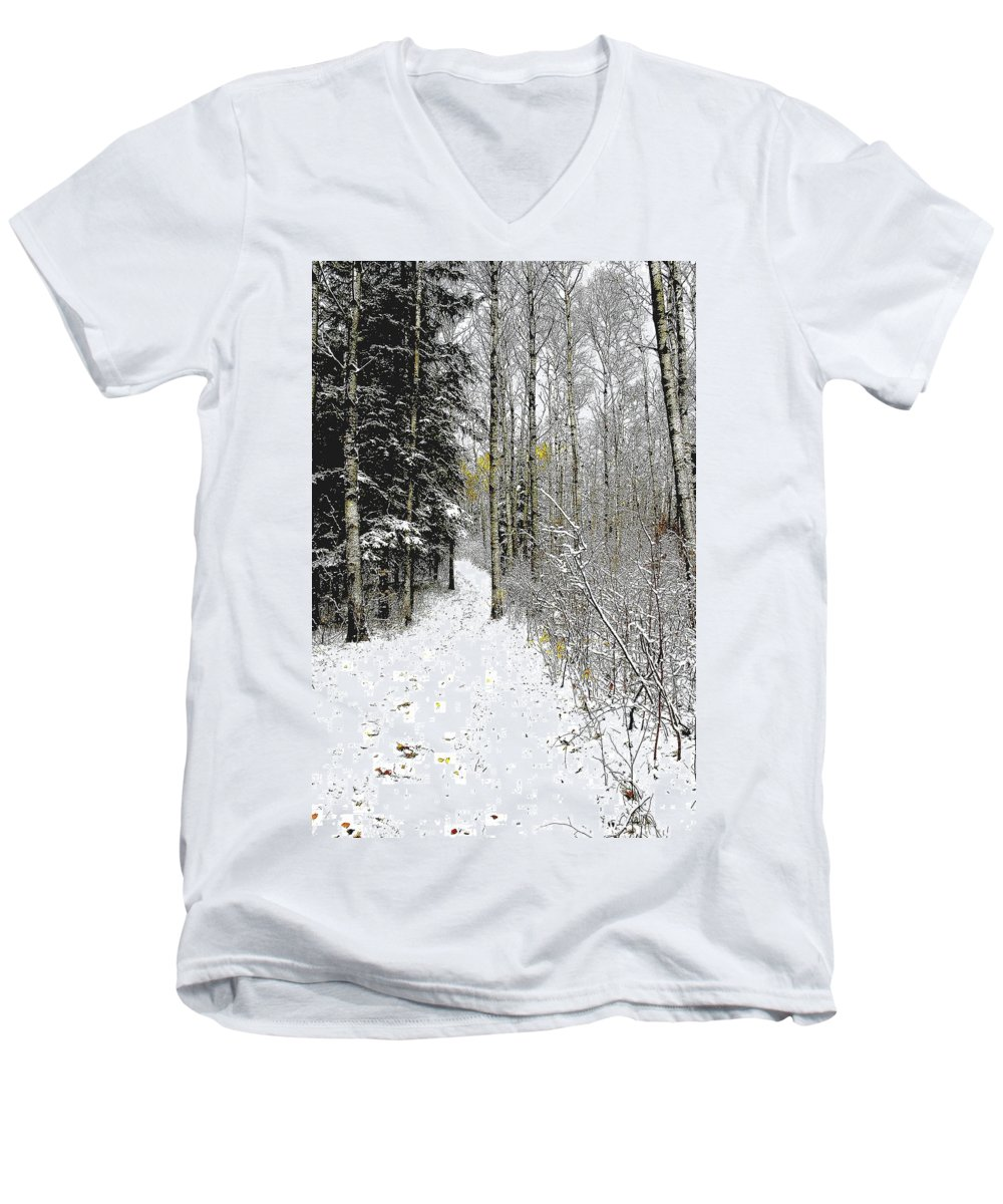 Winter Men's V-Neck T-Shirt featuring the photograph First Snowfall by Nelson Strong