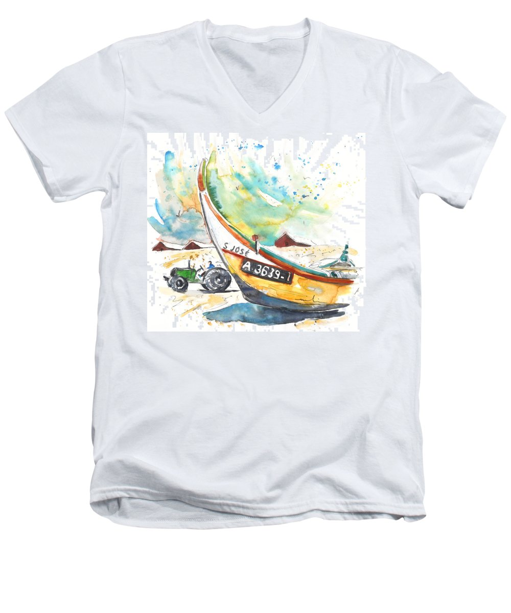 Portugal Men's V-Neck T-Shirt featuring the painting Fisherboat In Praia De Mira by Miki De Goodaboom