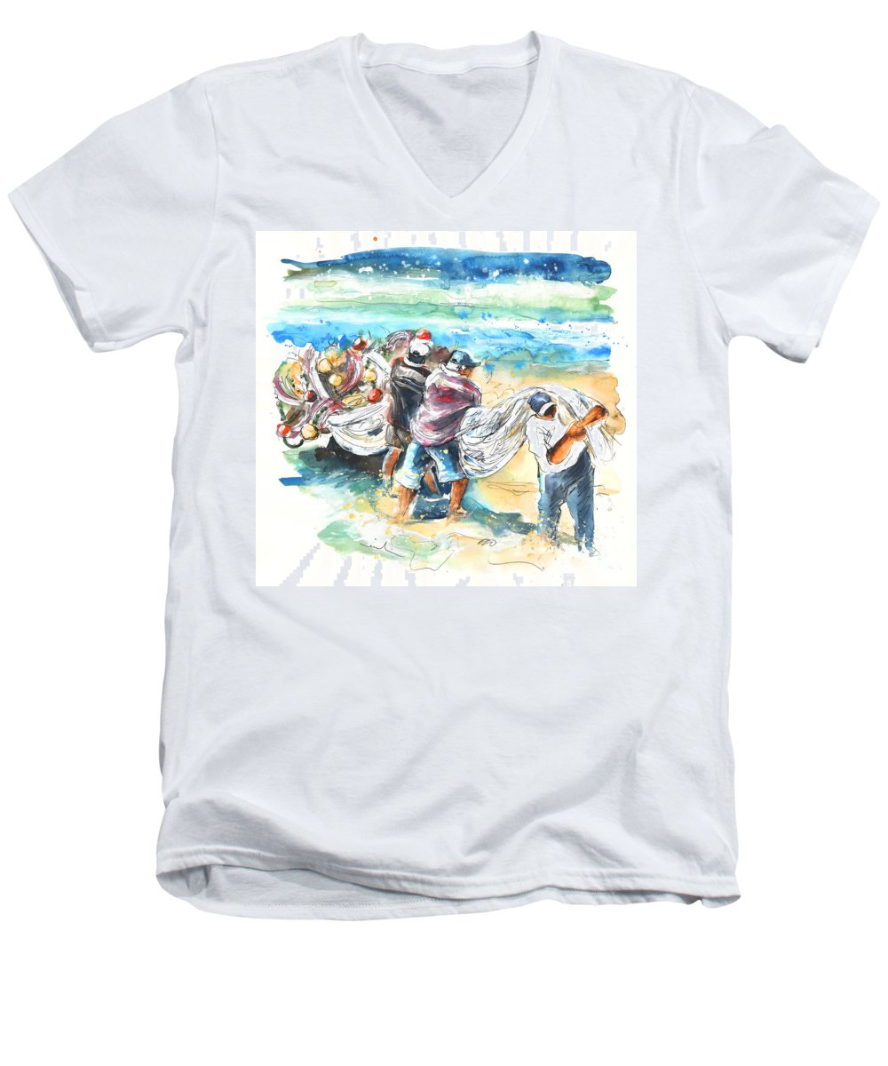 Portugal Men's V-Neck T-Shirt featuring the painting Fishermen In Praia De Mira by Miki De Goodaboom