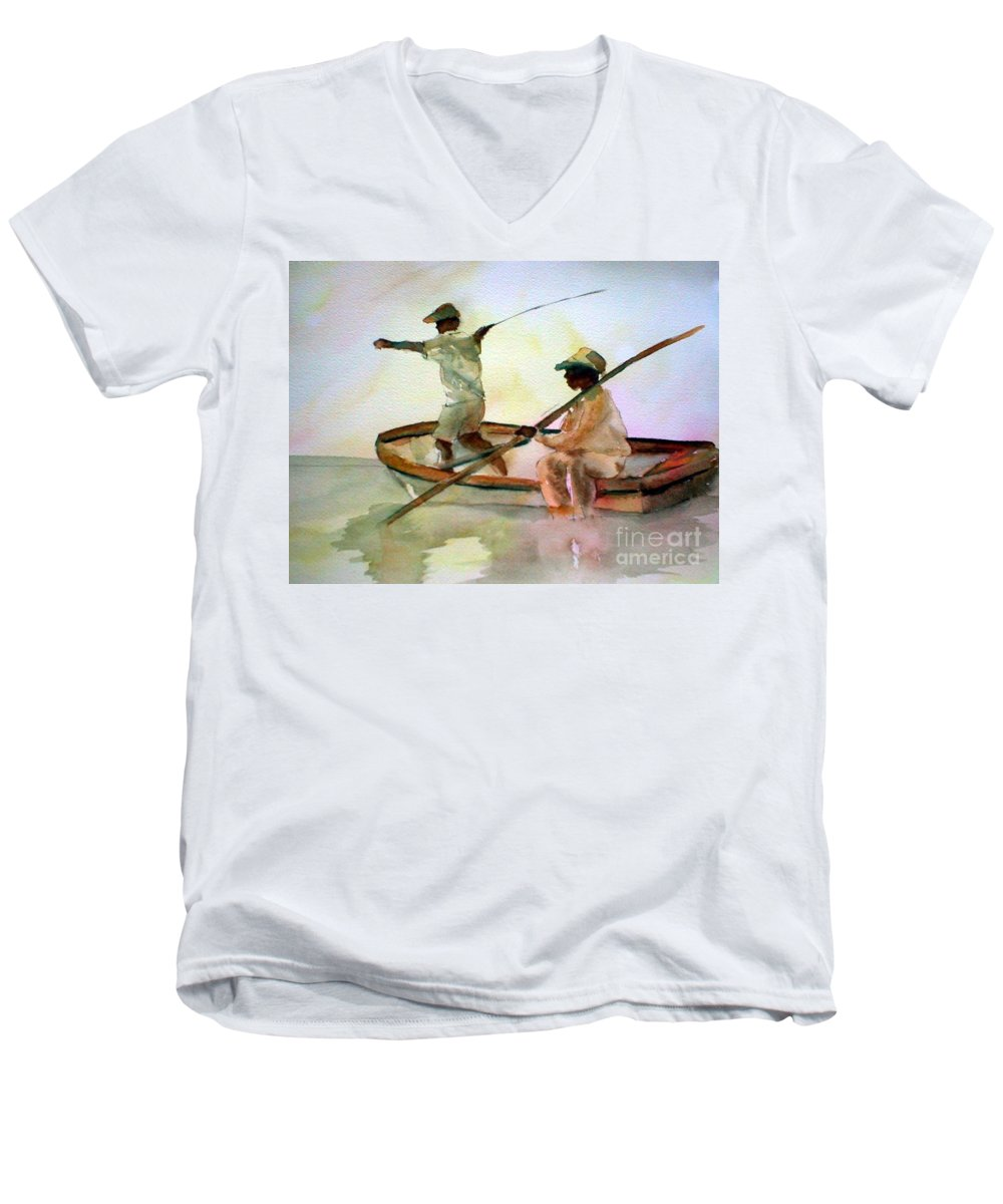 Fishing Men's V-Neck T-Shirt featuring the painting Fishing by Rhonda Hancock