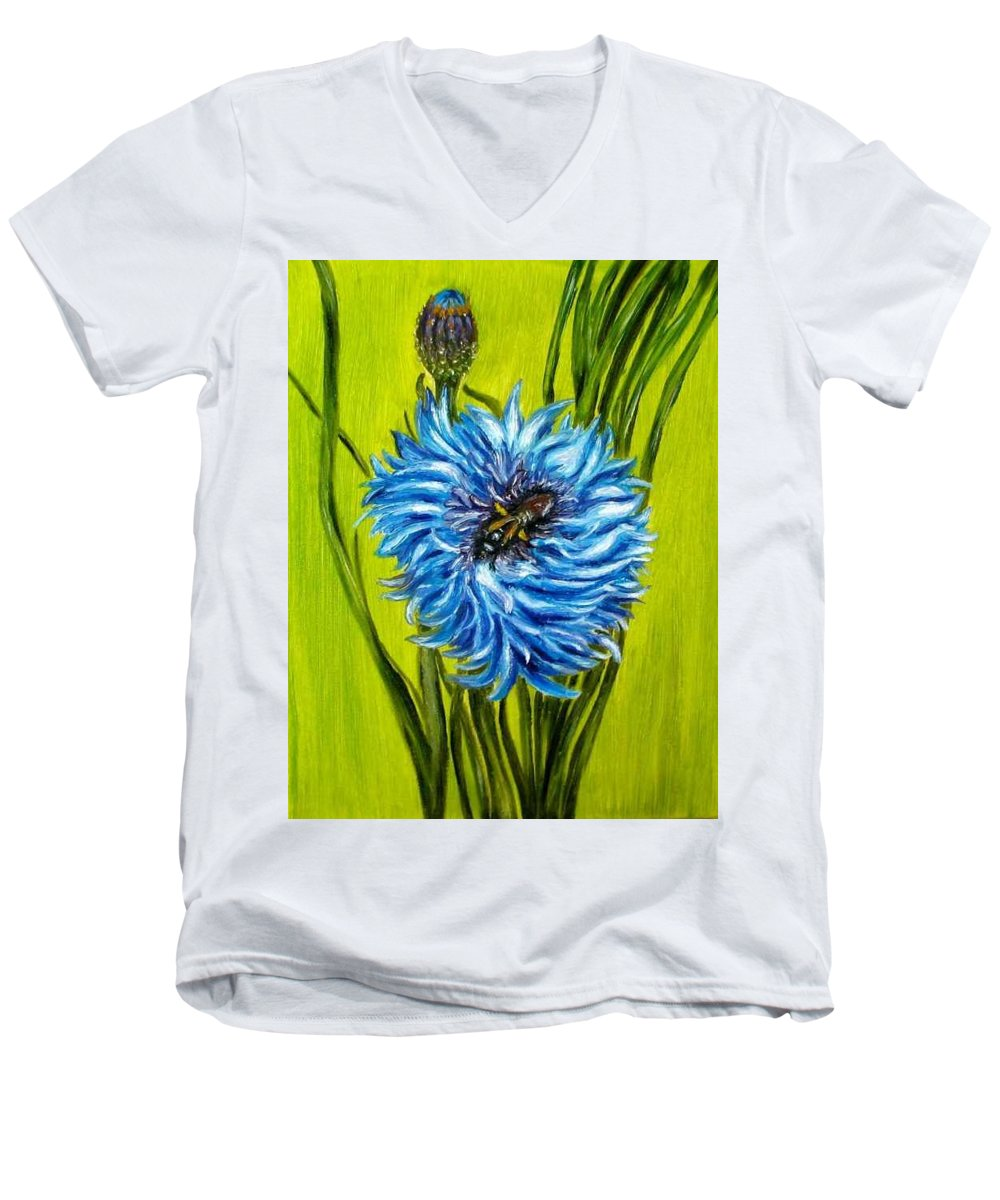 Flower Men's V-Neck T-Shirt featuring the painting Flower And Bee Oil Painting by Natalja Picugina