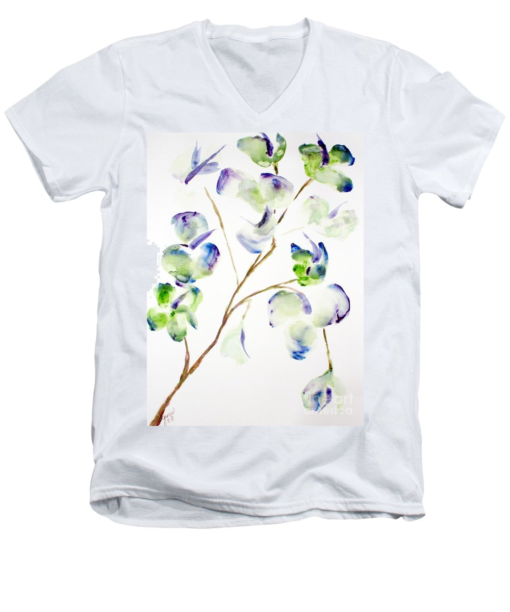 Flower Men's V-Neck T-Shirt featuring the painting Flower by Shelley Jones