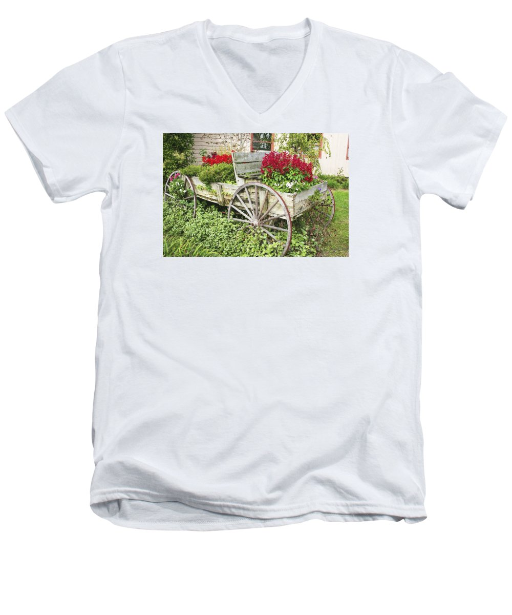 Wagon Men's V-Neck T-Shirt featuring the photograph Flower Wagon by Margie Wildblood