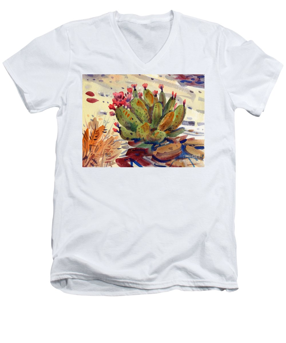 Opuntia Cactus Men's V-Neck T-Shirt featuring the painting Flowering Opuntia by Donald Maier