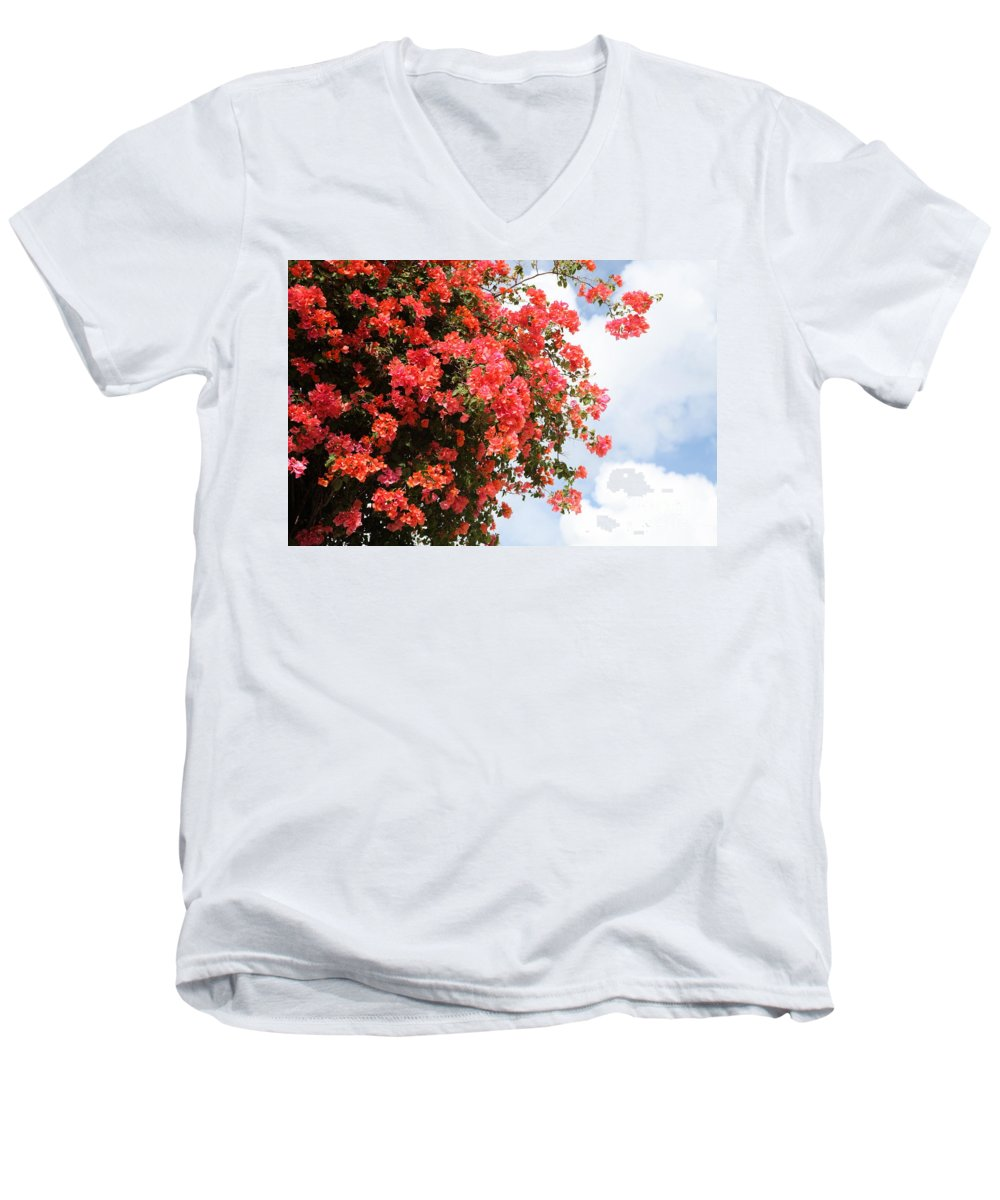 Hawaii Men's V-Neck T-Shirt featuring the photograph Flowering Tree by Nadine Rippelmeyer