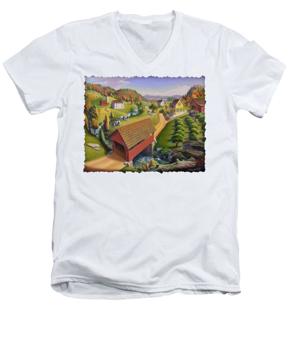 Covered Bridge Men's V-Neck T-Shirt featuring the painting Folk Art Covered Bridge Appalachian Country Farm Summer Landscape - Appalachia - Rural Americana by Walt Curlee