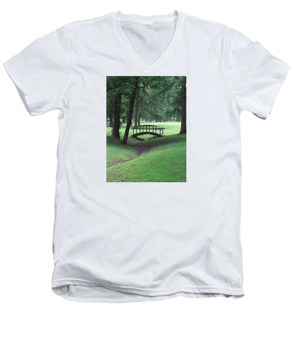 Bridge Men's V-Neck T-Shirt featuring the photograph Foot Bridge In The Park by J R Seymour
