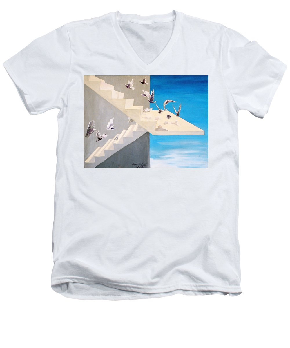 Birds Men's V-Neck T-Shirt featuring the painting Form Without Function by Steve Karol