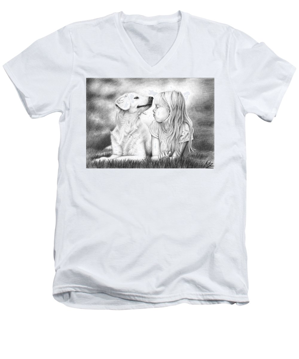Dog Men's V-Neck T-Shirt featuring the drawing Friends by Nicole Zeug