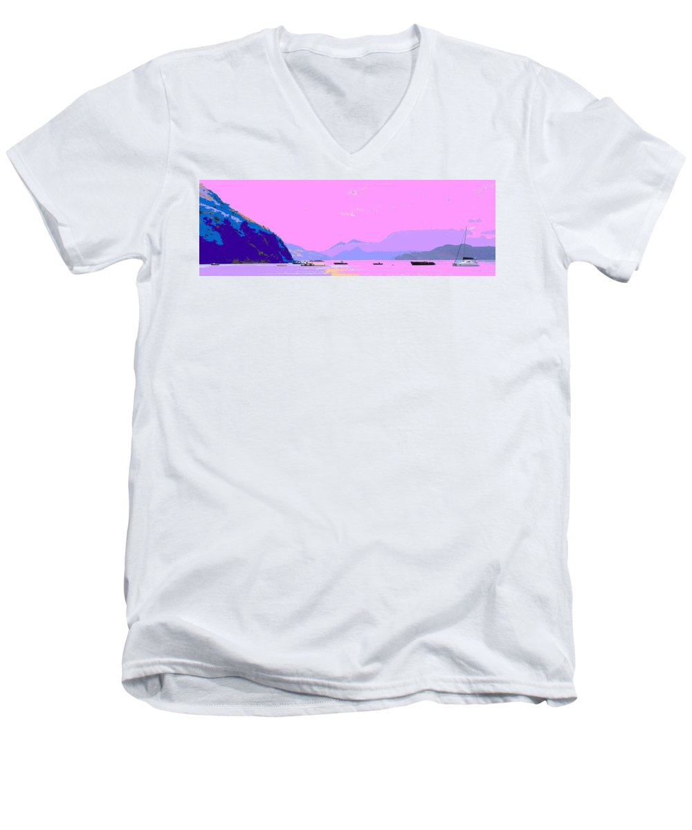 Frigate Men's V-Neck T-Shirt featuring the photograph Frigate Bay Morning by Ian MacDonald