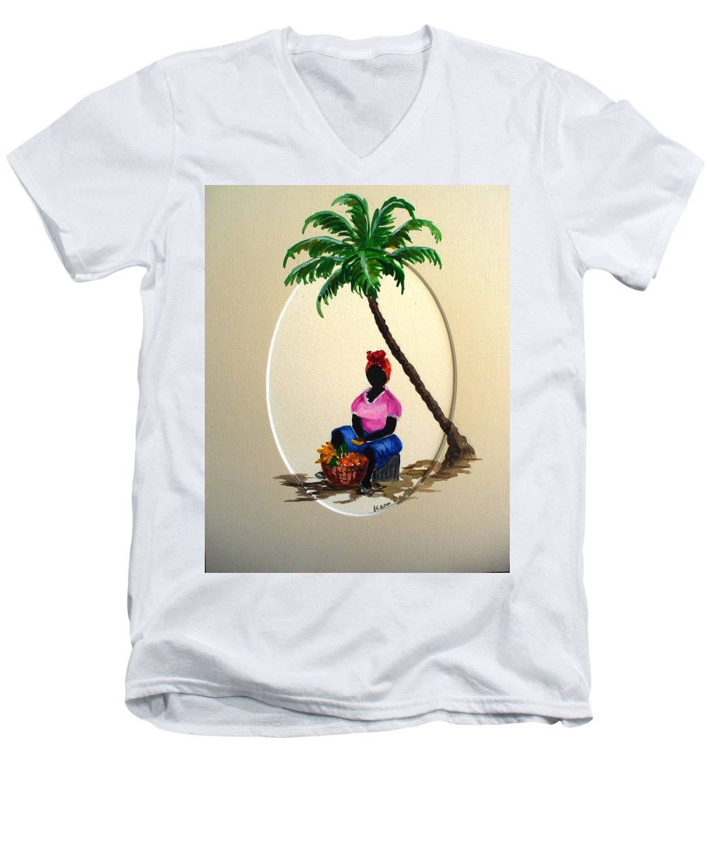 Men's V-Neck T-Shirt featuring the painting Fruit Seller by Karin Dawn Kelshall- Best
