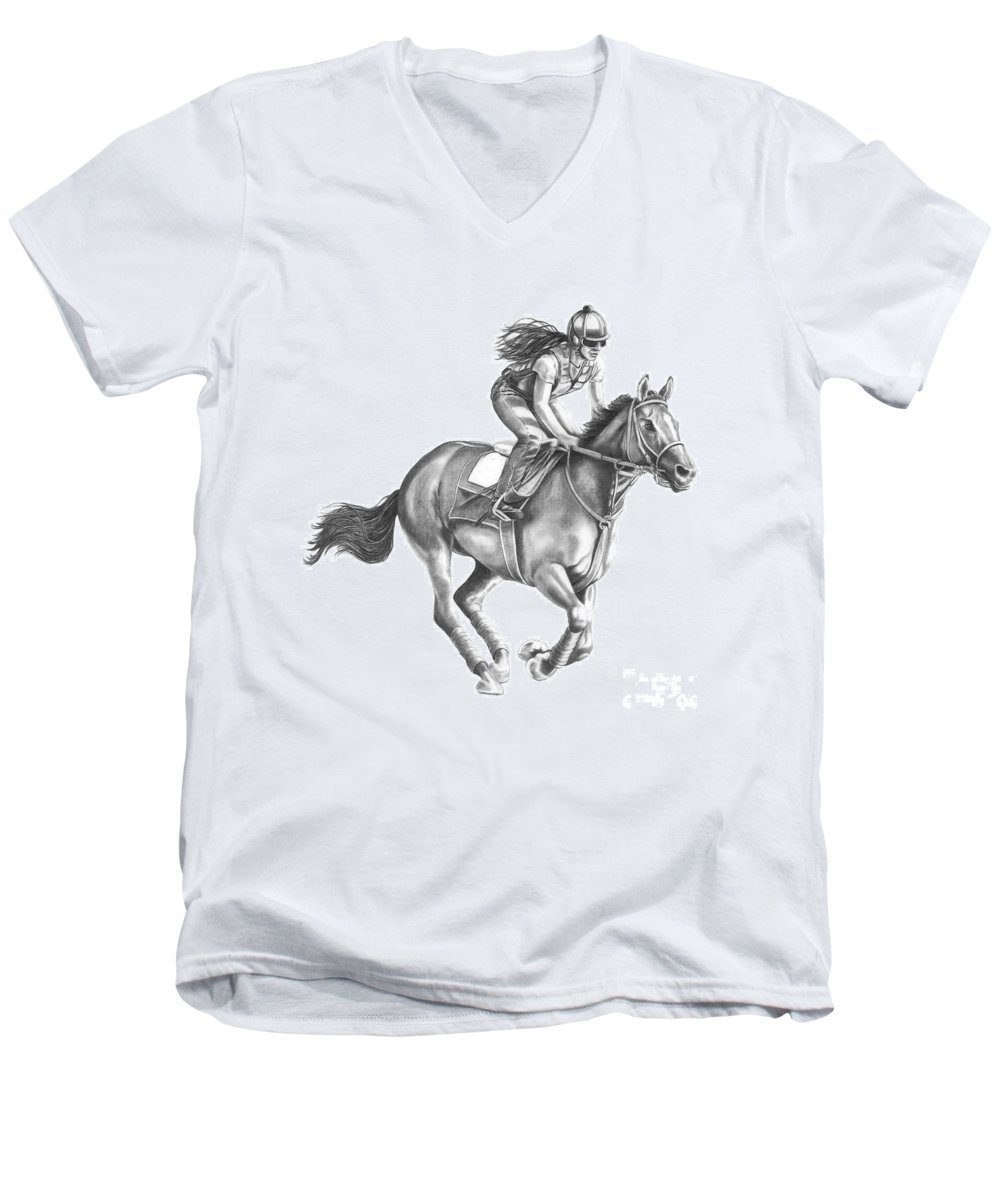 Horse Men's V-Neck T-Shirt featuring the drawing Full Gallop by Murphy Elliott