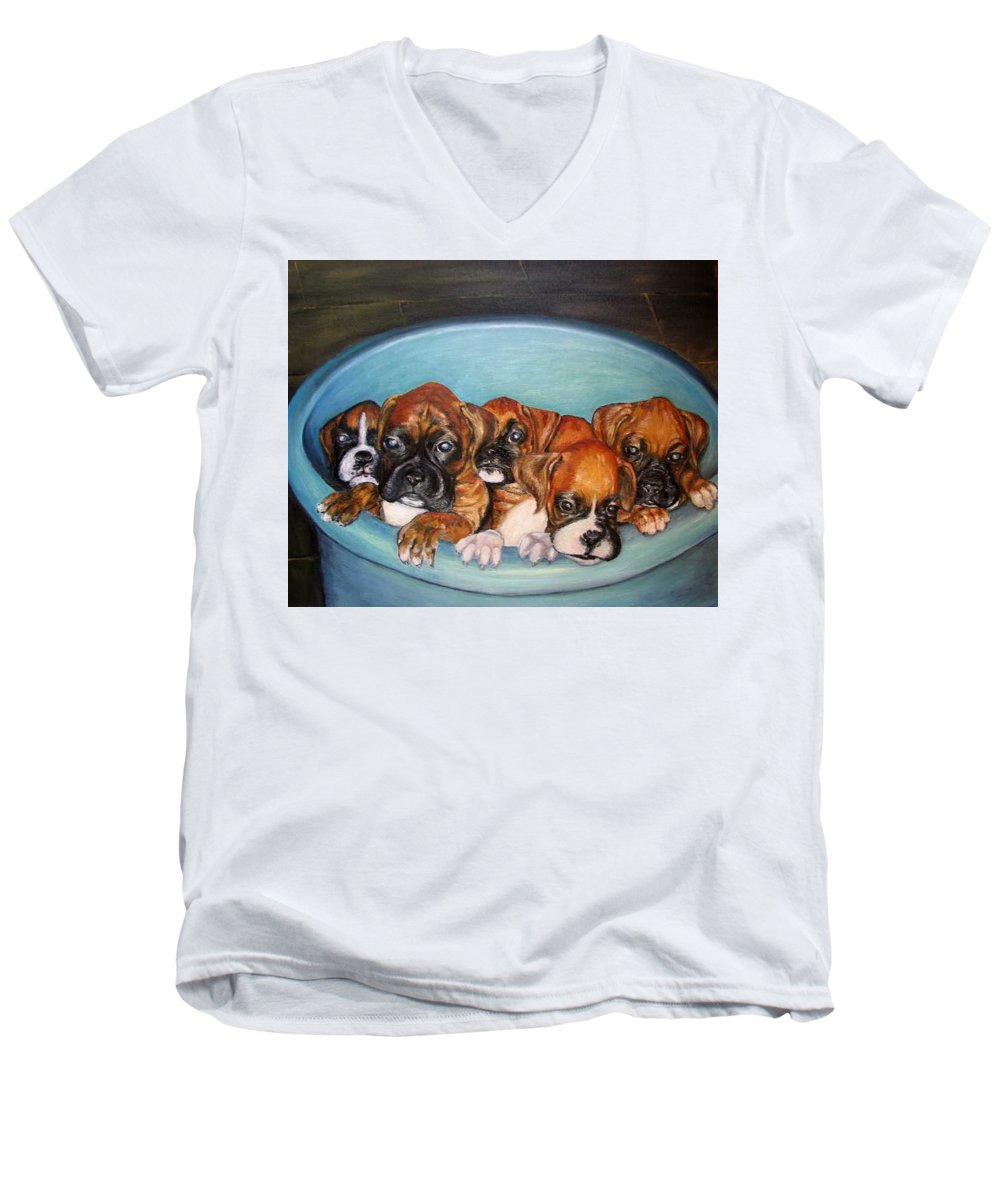 Oil Men's V-Neck T-Shirt featuring the painting Funny Puppies Orginal Oil Painting by Natalja Picugina