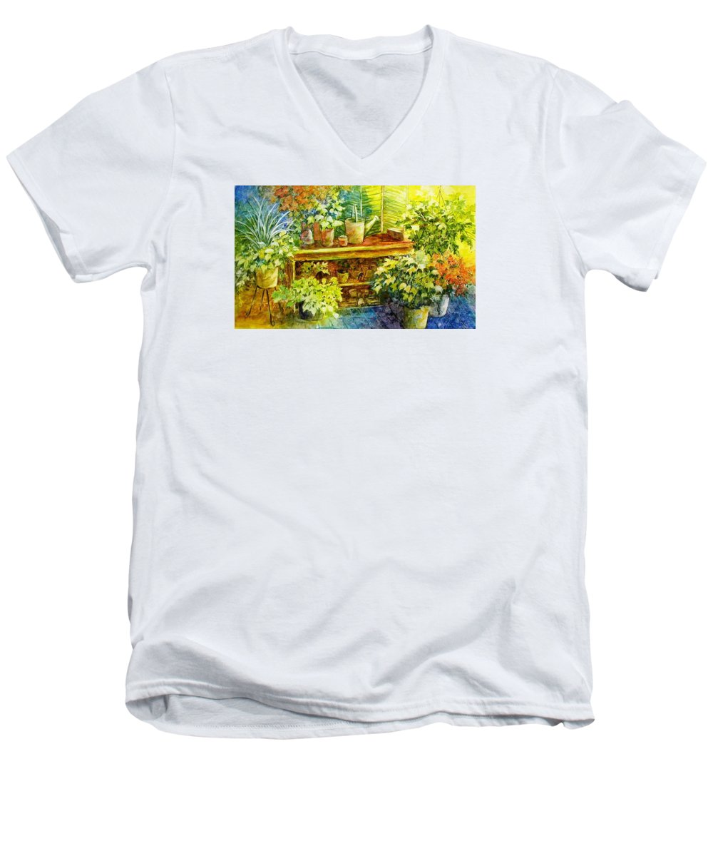 Greenhouse;plants;flowers;gardener;workbench;sprinkling Can;contemporary Men's V-Neck T-Shirt featuring the painting Gardener's Joy by Lois Mountz