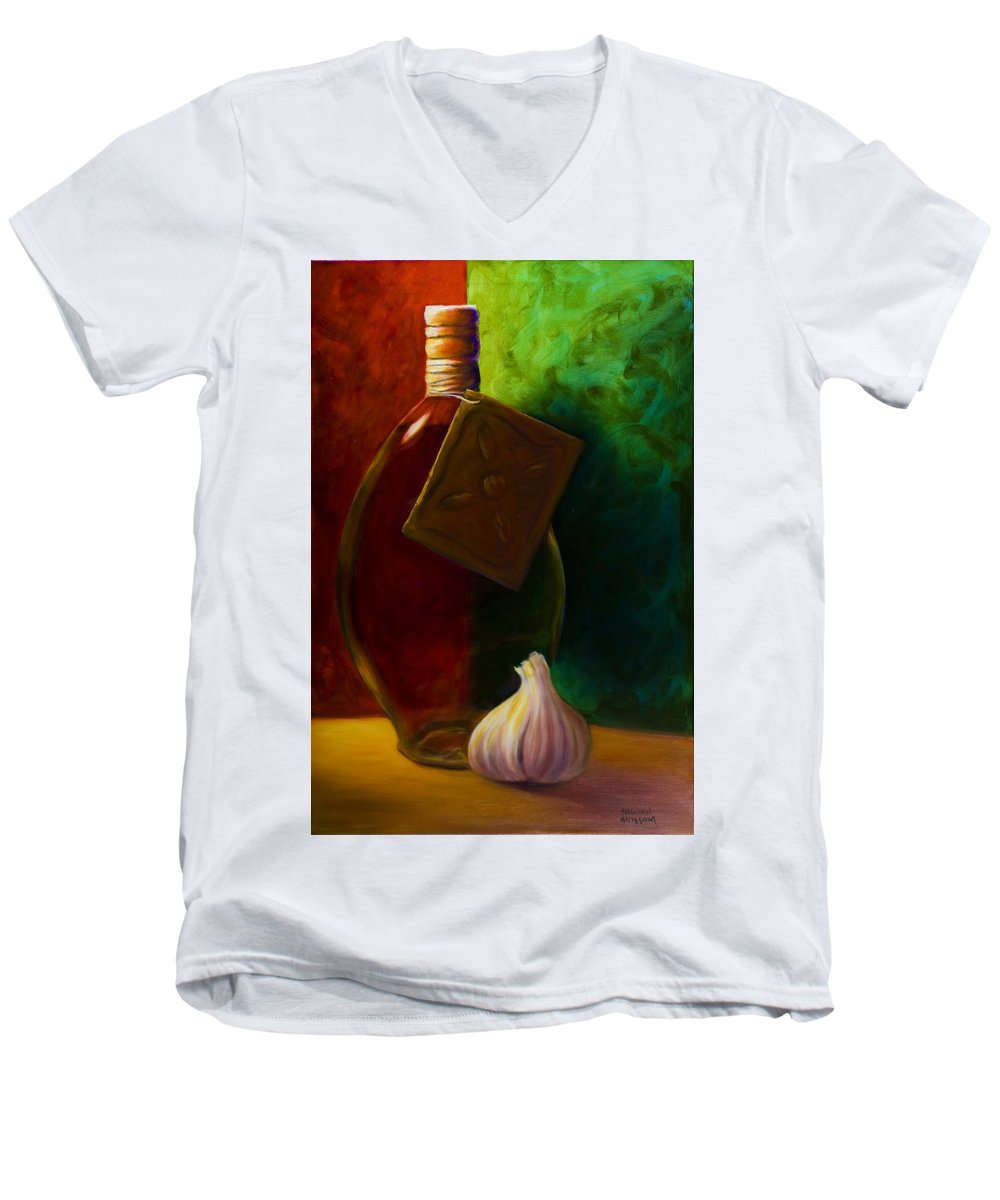 Shannon Grissom Men's V-Neck T-Shirt featuring the painting Garlic And Oil by Shannon Grissom