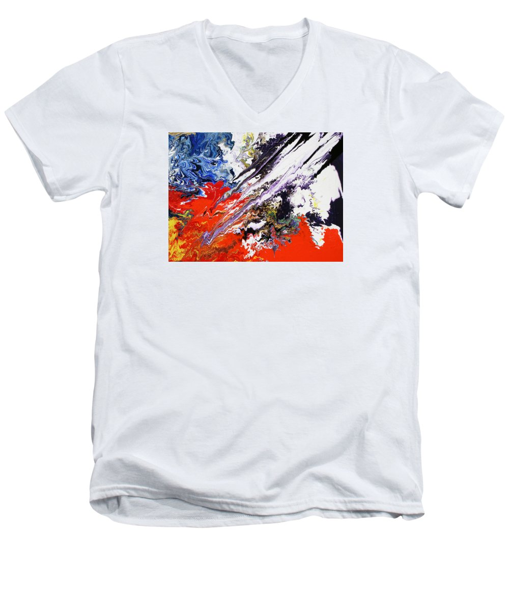 Fusionart Men's V-Neck T-Shirt featuring the painting Genesis by Ralph White
