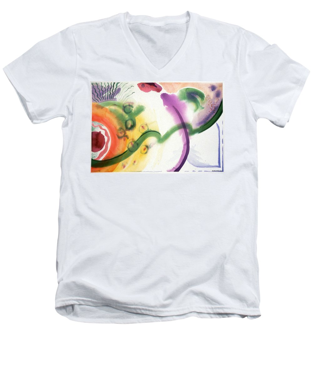 Abstract Men's V-Neck T-Shirt featuring the painting Geomantic Blossom Ripening by Eileen Hale