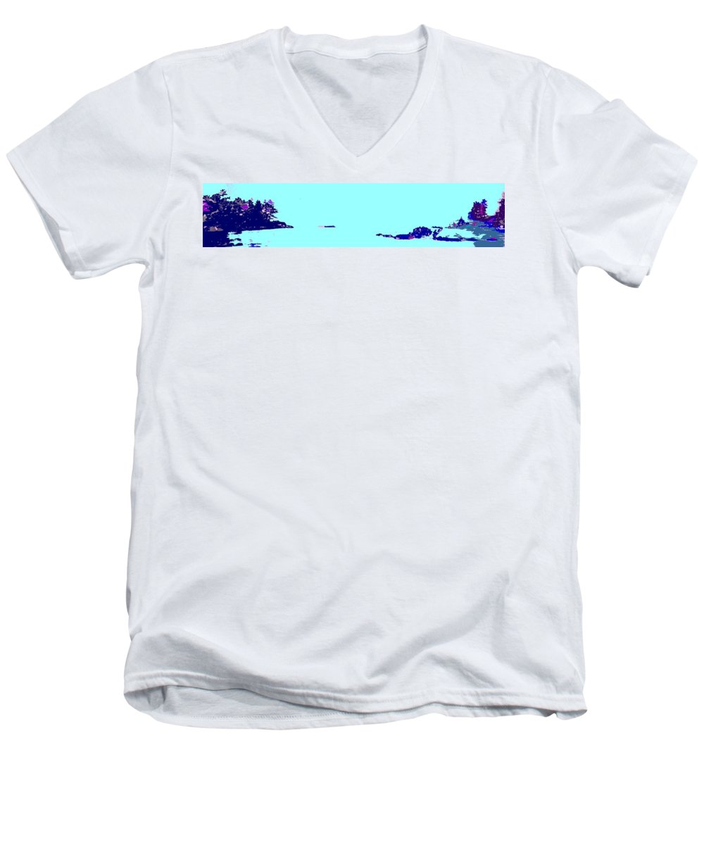 Men's V-Neck T-Shirt featuring the photograph Georgian Bay Blue by Ian MacDonald