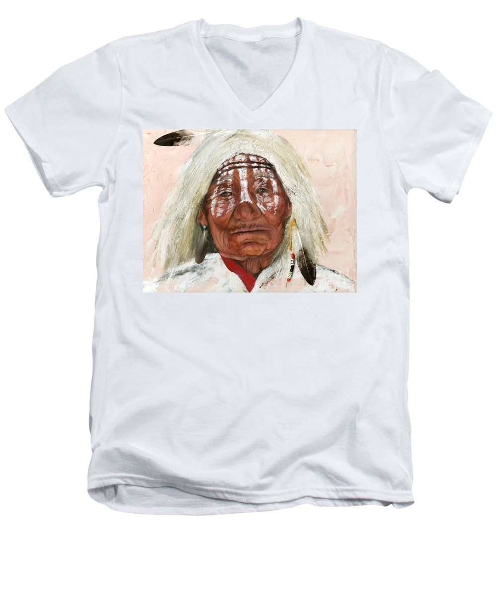 Southwest Art Men's V-Neck T-Shirt featuring the painting Ghost Shaman by J W Baker