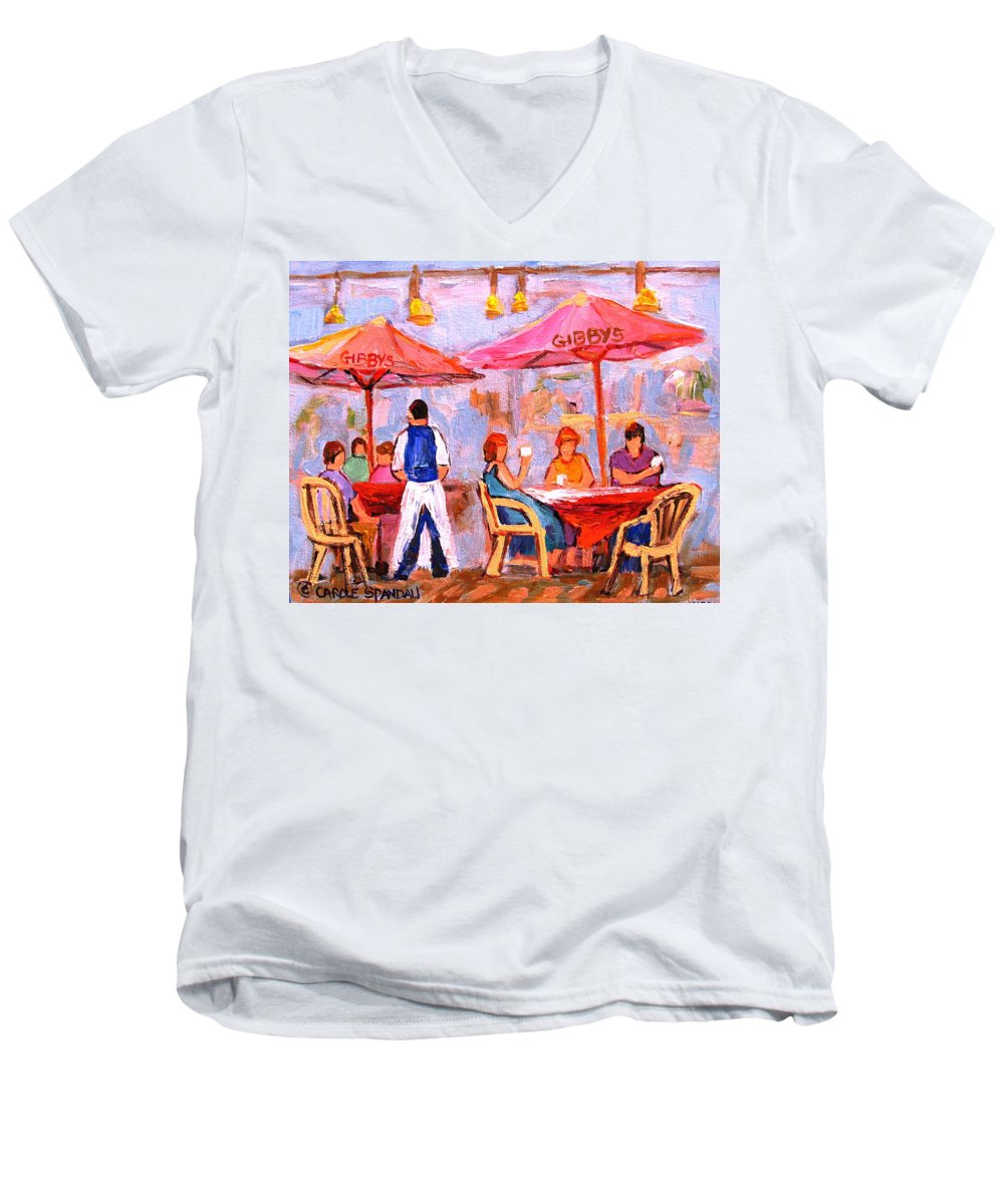 Gibbys Restaurant Montreal Street Scenes Men's V-Neck T-Shirt featuring the painting Gibbys Cafe by Carole Spandau