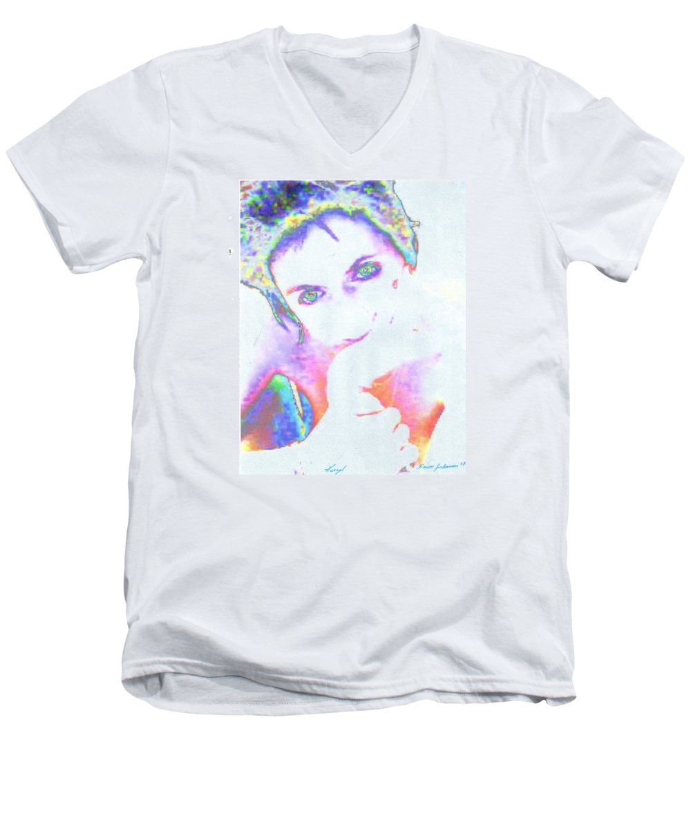 Portrate Of A French Girl Men's V-Neck T-Shirt featuring the photograph Gisele by Dawn Johansen