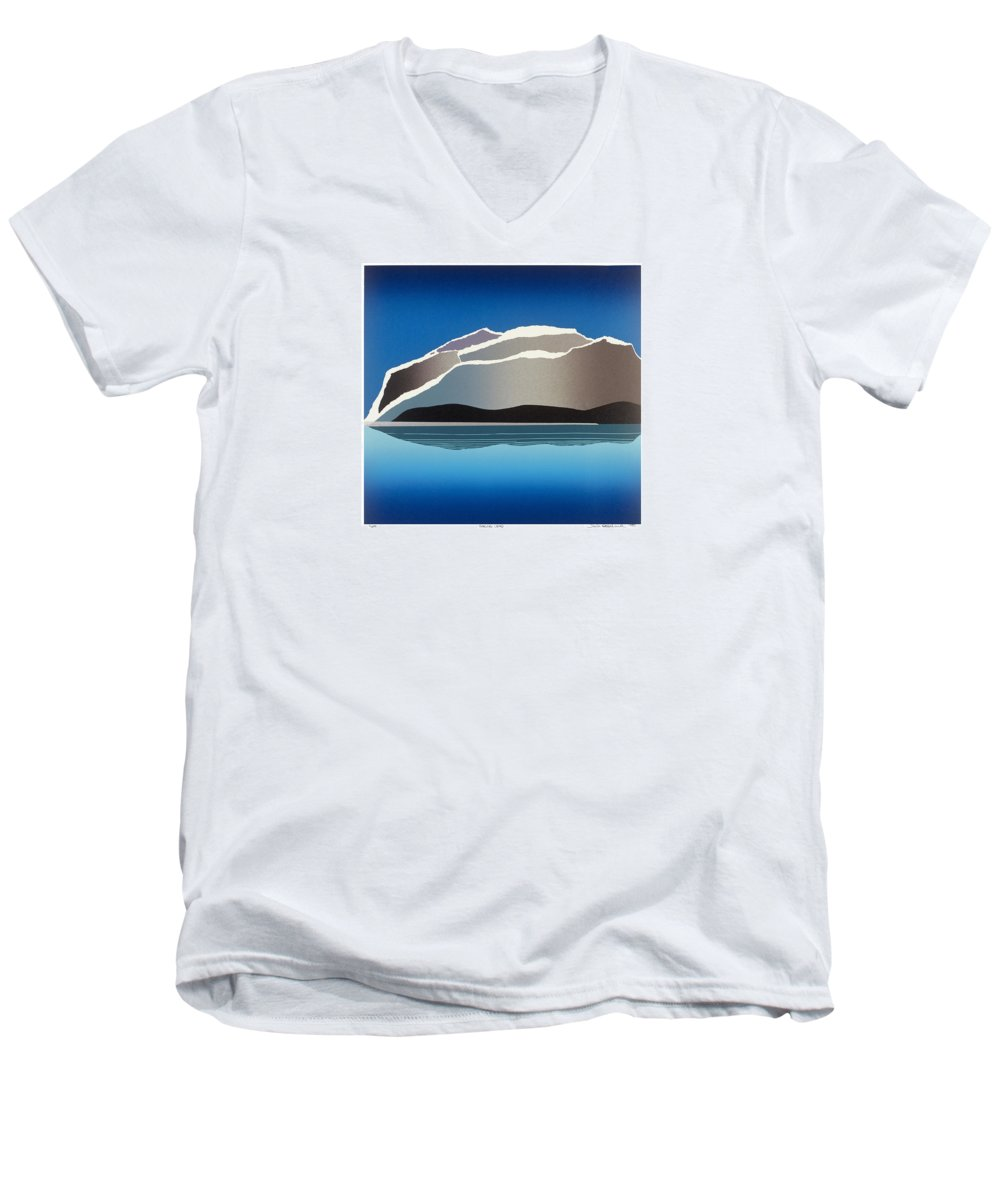 Landscape Men's V-Neck T-Shirt featuring the mixed media Glaciers by Jarle Rosseland