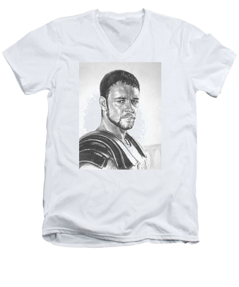 Portraits Men's V-Neck T-Shirt featuring the drawing Gladiator by Iliyan Bozhanov