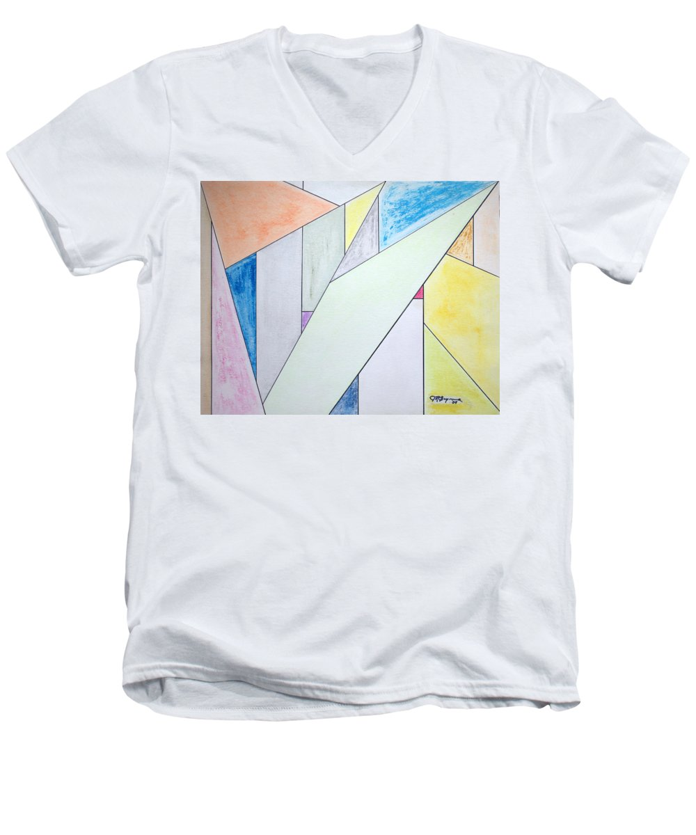 Buildings Men's V-Neck T-Shirt featuring the mixed media Glass-scrapers by J R Seymour