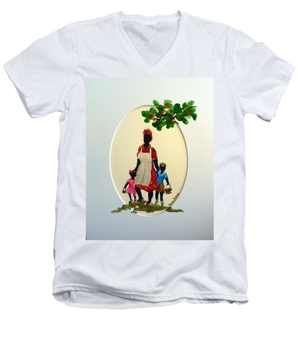 Caribbean Children Men's V-Neck T-Shirt featuring the painting Going To School by Karin Dawn Kelshall- Best