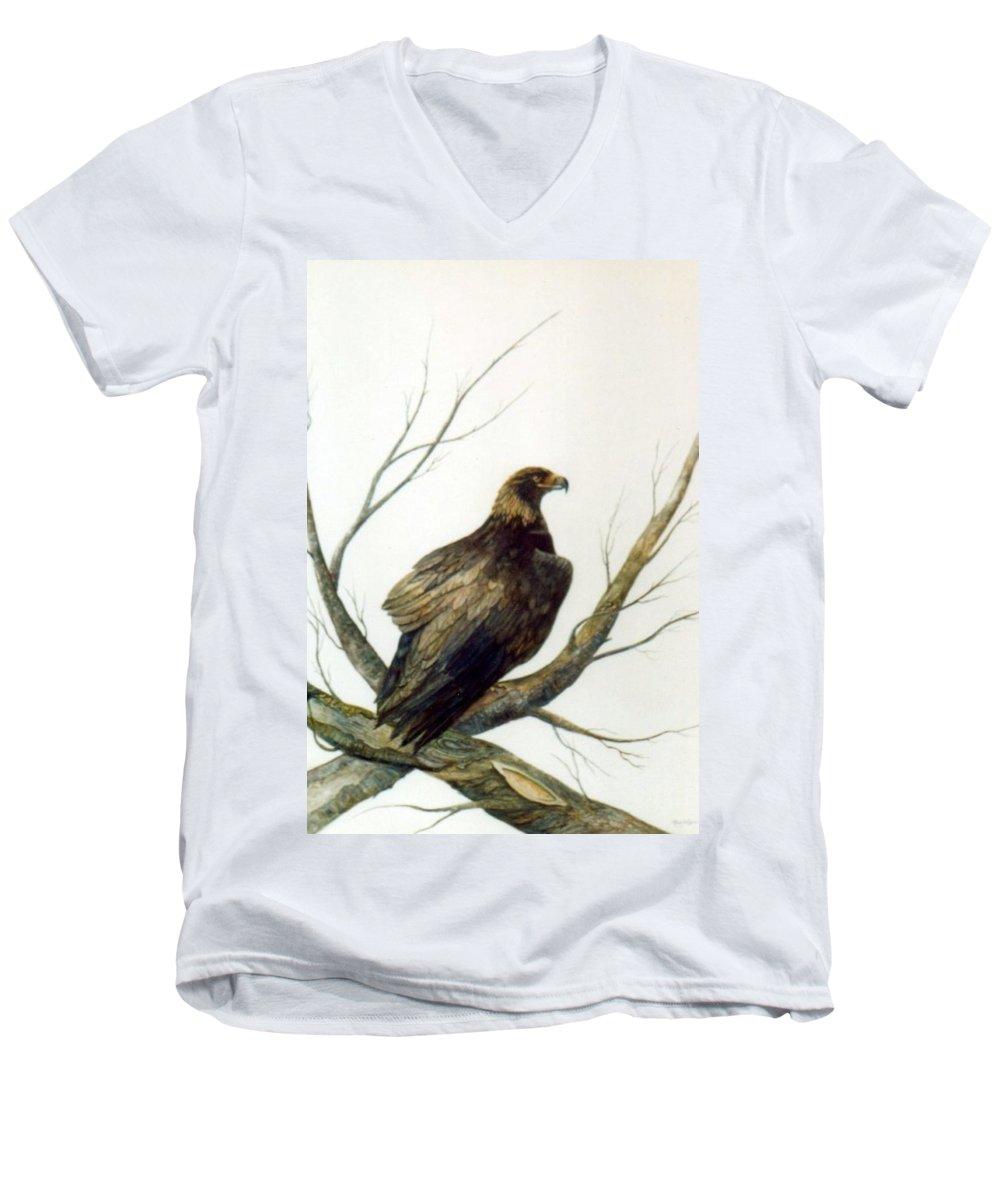 Eagle Men's V-Neck T-Shirt featuring the painting Golden Eagle by Ben Kiger