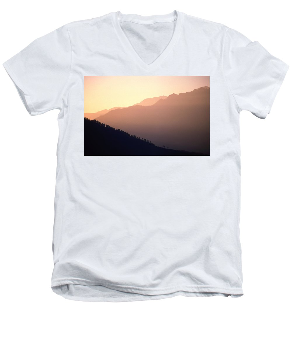 Langtang Men's V-Neck T-Shirt featuring the photograph Golden Mountains by Patrick Klauss