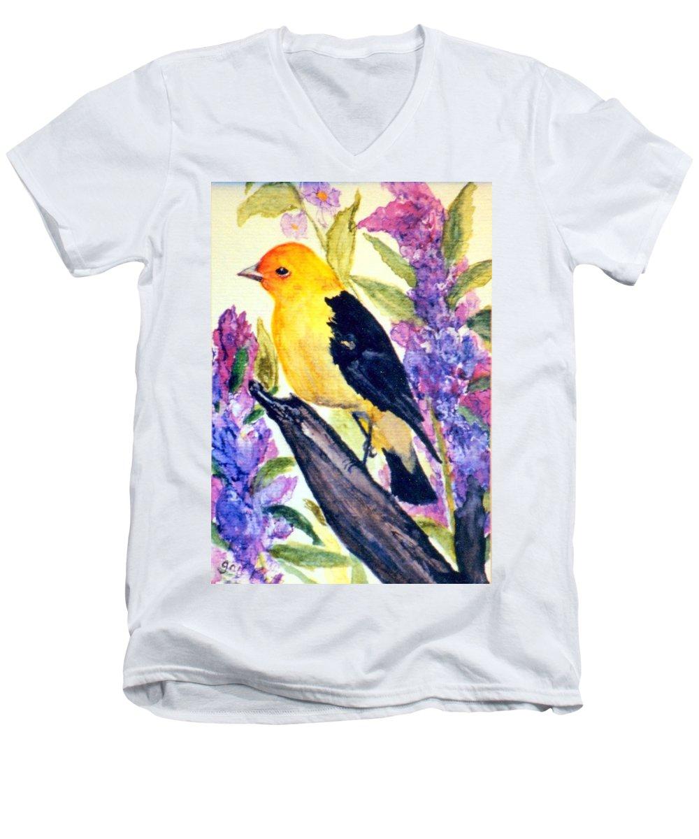 Birds Men's V-Neck T-Shirt featuring the painting Goldfinch by Gail Kirtz