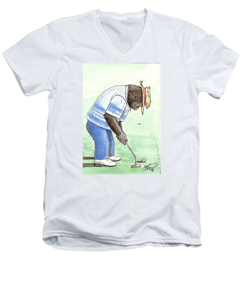 Golf Men's V-Neck T-Shirt featuring the painting Got You Now by George I Perez