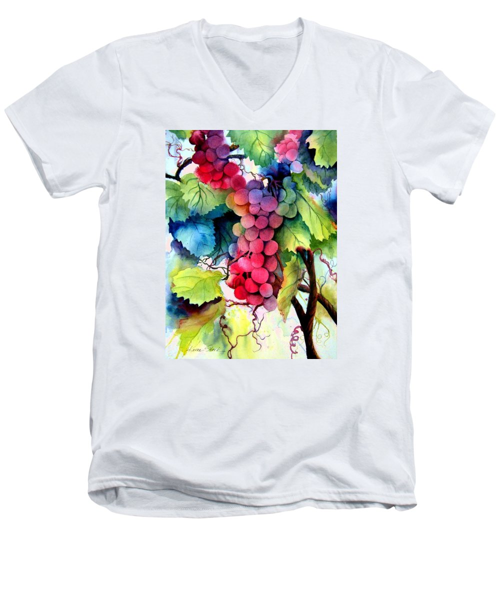 Grapes Men's V-Neck T-Shirt featuring the painting Grapes by Karen Stark