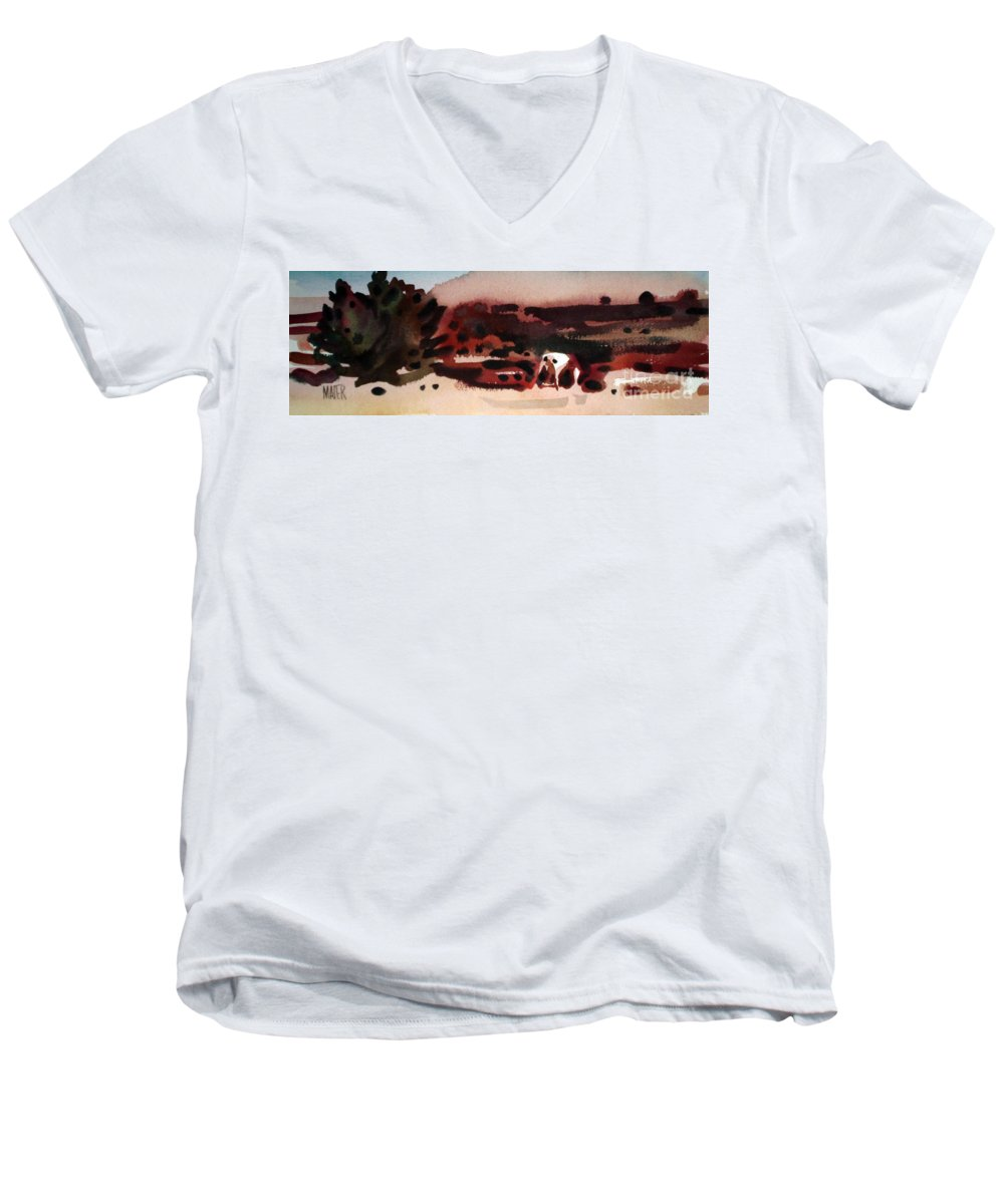 Horse Men's V-Neck T-Shirt featuring the painting Grazing Pinto by Donald Maier