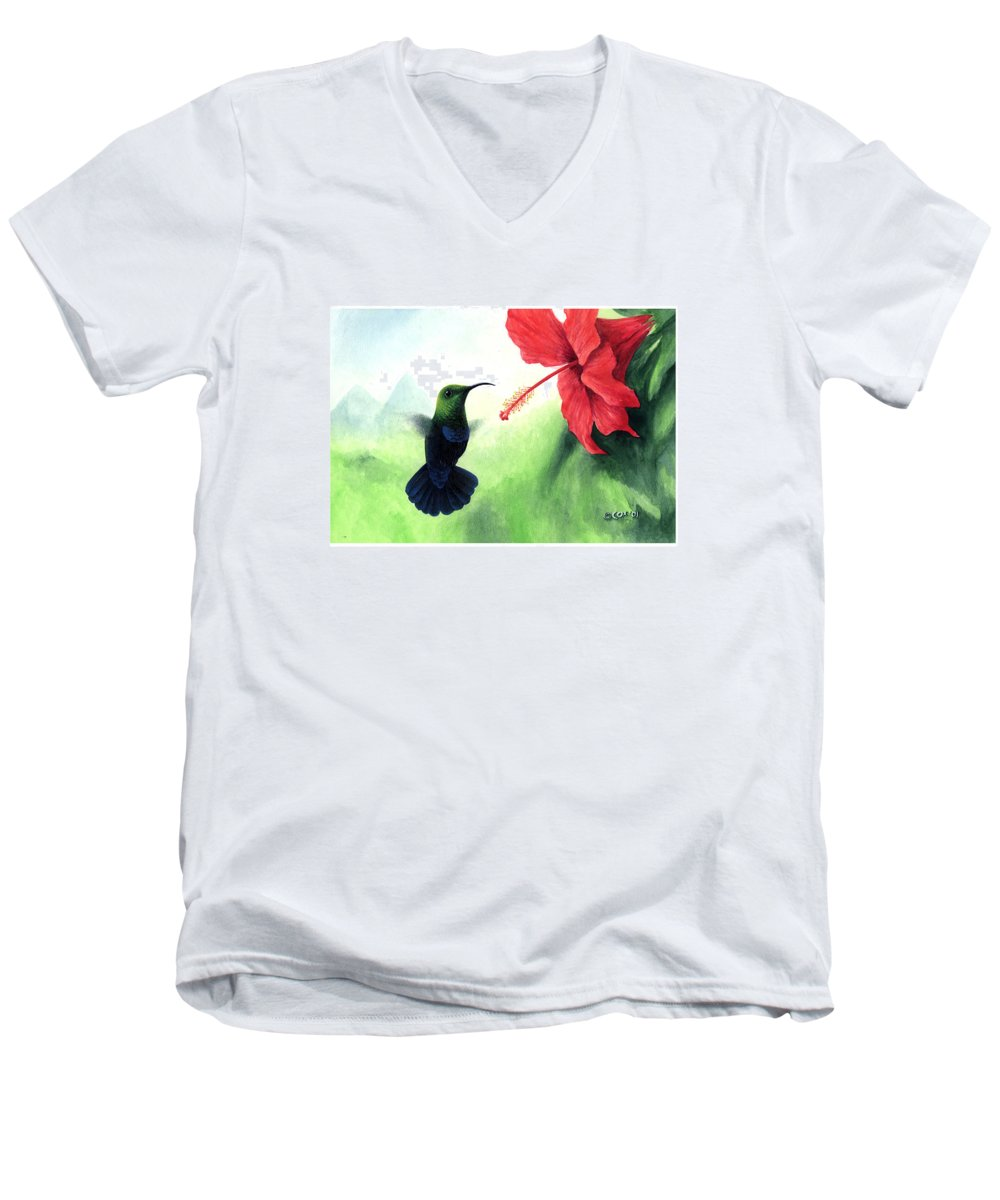 Chris Cox Men's V-Neck T-Shirt featuring the painting Green-throated Carib Hummingbird And Red Hibiscus by Christopher Cox