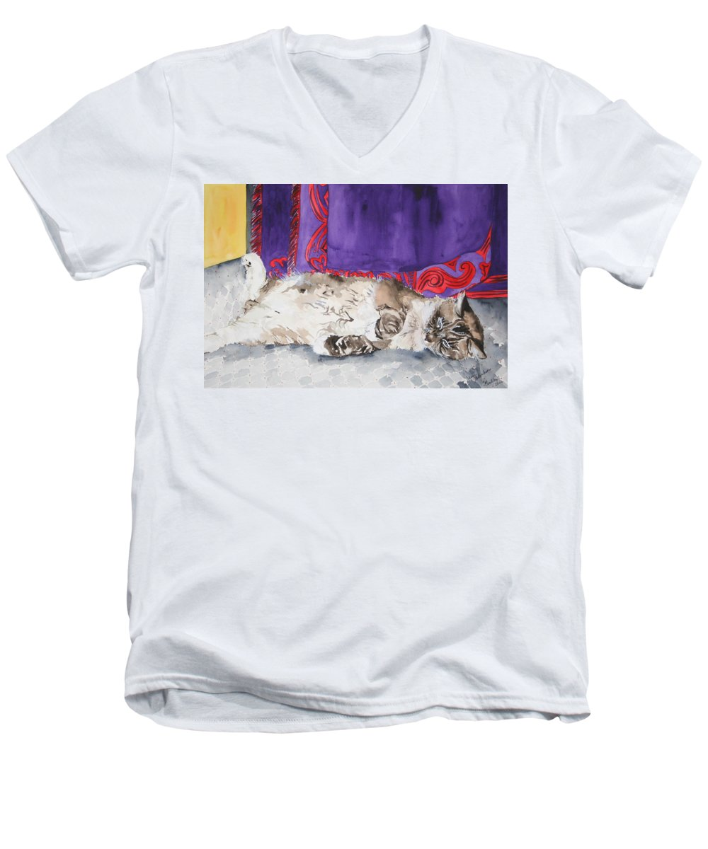 Cat Men's V-Neck T-Shirt featuring the painting Guilley by Jean Blackmer