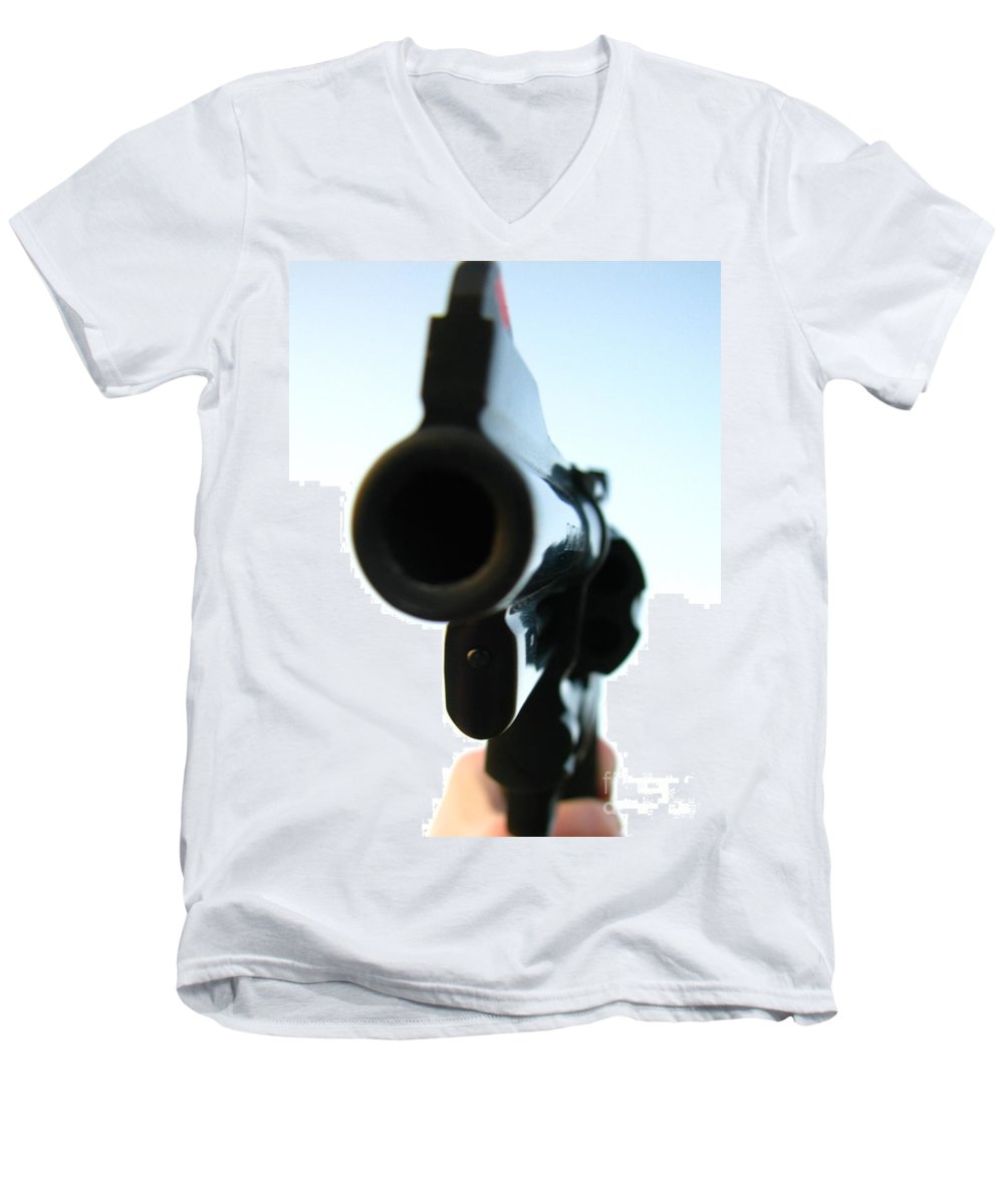 Guns Men's V-Neck T-Shirt featuring the photograph Gun by Amanda Barcon