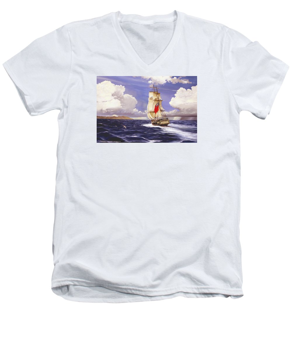 Marine Men's V-Neck T-Shirt featuring the painting H. M. S. Bounty At Tahiti by Marc Stewart