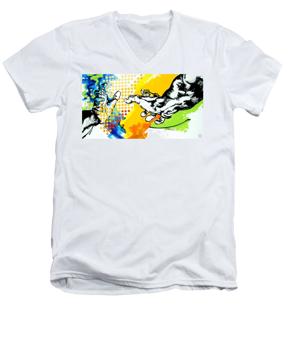 Classic Men's V-Neck T-Shirt featuring the painting Hands by Jean Pierre Rousselet