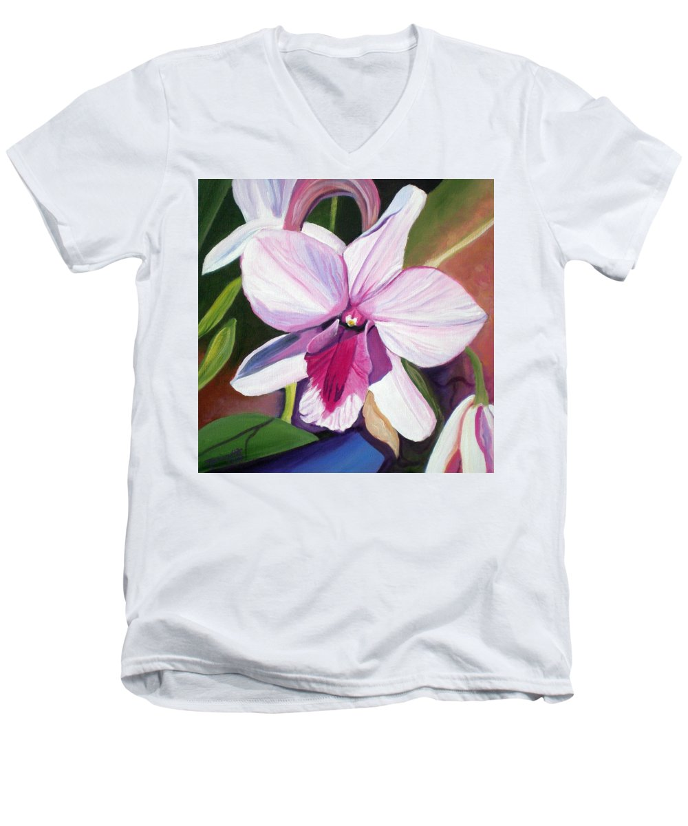 Kauai Men's V-Neck T-Shirt featuring the painting Happy Orchid by Marionette Taboniar