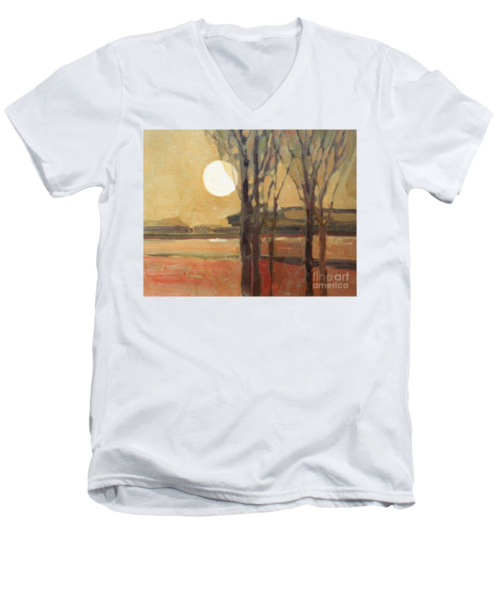 Sunset Men's V-Neck T-Shirt featuring the painting Harvest Moon by Donald Maier