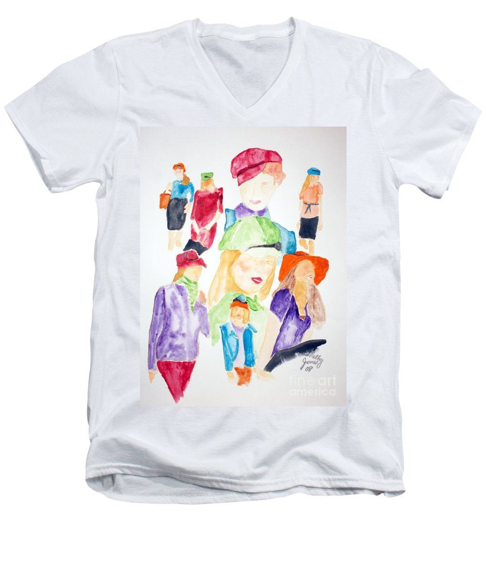 Hats Men's V-Neck T-Shirt featuring the painting Hats by Shelley Jones