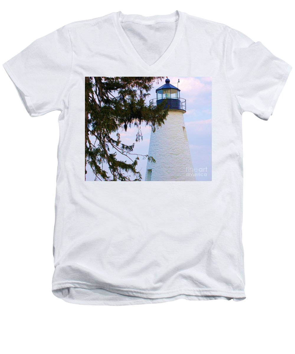 Lighthouse Men's V-Neck T-Shirt featuring the photograph Havre De Grace Lighthouse by Debbi Granruth