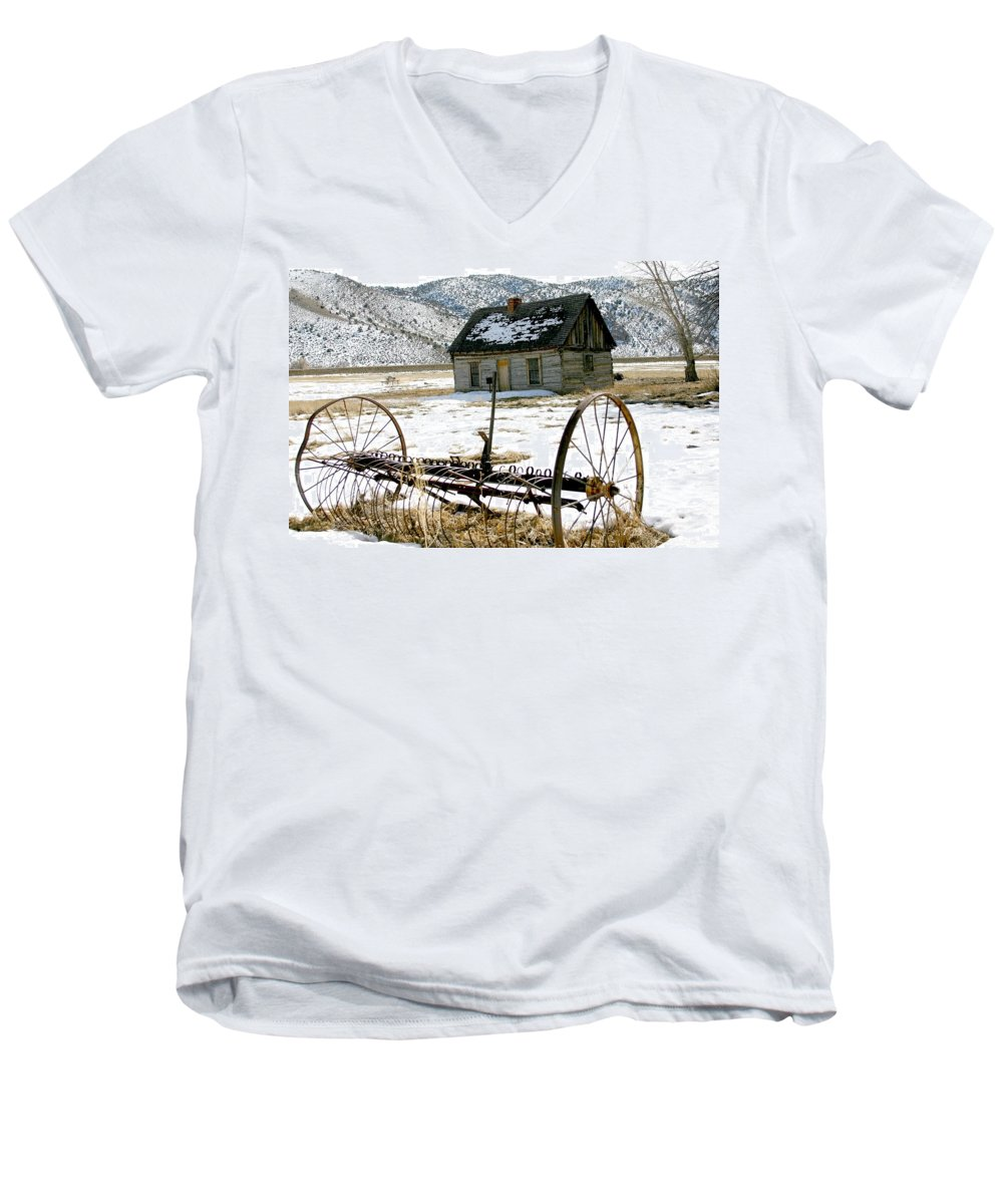 Utah Men's V-Neck T-Shirt featuring the photograph Hay Rake At Butch Cassidy by Nelson Strong